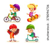 cute cartoon kids with various... | Shutterstock .eps vector #378096736