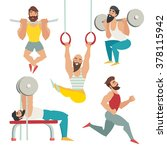 gym muscular man bodybuilder... | Shutterstock .eps vector #378115942