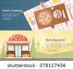 kitchen worktop top view with... | Shutterstock .eps vector #378117436