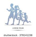 family running silhouettes.... | Shutterstock .eps vector #378141238