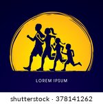 family running silhouettes....