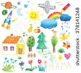 child drawing doodle set | Shutterstock .eps vector #378141268