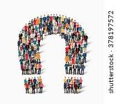 people  shape  magnet horseshoe | Shutterstock .eps vector #378197572