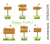 set of wooden signs with flying ... | Shutterstock .eps vector #378201145