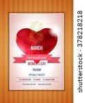 happy women's day party flyer.... | Shutterstock .eps vector #378218218