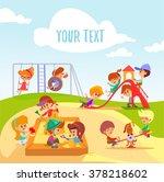 cute little cartoon boys and... | Shutterstock .eps vector #378218602
