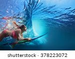 young girl in bikini   surfer... | Shutterstock . vector #378223072