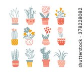 flowers in vases. vector... | Shutterstock .eps vector #378228082