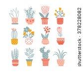 flowers in vases. vector... | Shutterstock .eps vector #378228082