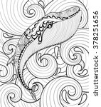 Vector Zentangle Whale In Sea...