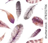 watercolor feathers seamless... | Shutterstock . vector #378252706