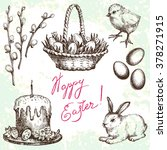 Easter Set. Hand Drawn...