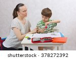 a young mother ask her six... | Shutterstock . vector #378272392