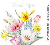 Watercolor Spring Bouquet  Card ...