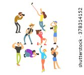people posing while... | Shutterstock .eps vector #378314152