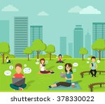 People in the park with mobile device, online web, wireless nternet technology outdoor, design flat illustration | Shutterstock vector #378330022