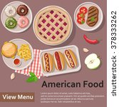 american food. fast food. flat... | Shutterstock .eps vector #378333262