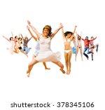 winning idea jumping together  | Shutterstock . vector #378345106