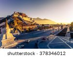 potala palace and stupa at dusk ... | Shutterstock . vector #378346012
