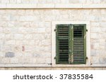 faded green window blinds with... | Shutterstock . vector #37835584