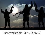 silhouette of military soldier... | Shutterstock . vector #378357682