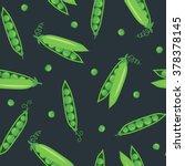 peas seamless pattern on dark... | Shutterstock .eps vector #378378145