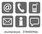 contact us  set of six white... | Shutterstock .eps vector #378400966