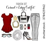 fashion set of woman's clothes  ... | Shutterstock . vector #378425962