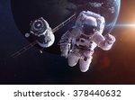 spacecraft soyuz orbiting the... | Shutterstock . vector #378440632
