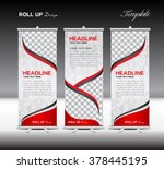 red roll up banner template... | Shutterstock .eps vector #378445195