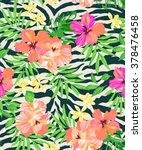 neon tropical flowers on zebra... | Shutterstock .eps vector #378476458