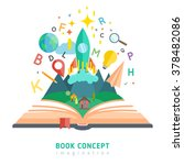 book concept with flat... | Shutterstock .eps vector #378482086