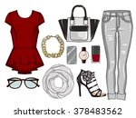 fashion set of woman's clothes  ... | Shutterstock . vector #378483562