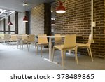 Stock photo an empty cafeteria interior shot large windows letting in light 378489865