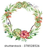 colorful floral wreath with... | Shutterstock . vector #378528526