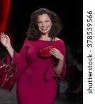Small photo of NEW YORK, NY - FEBRUARY 11, 2016: Fran Drescher wearing dress by La Petite Robe Di Chara Boni walks runway for the Heart Truth Red Dress Collection 2016 fashion show at Moynihan Station