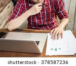 man thinking about graph and... | Shutterstock . vector #378587236