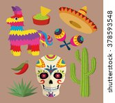Mexico Bright Icon Set With...