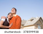 portrait of a couple outside of ... | Shutterstock . vector #378599938