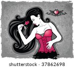 sexual girl with a rose | Shutterstock . vector #37862698