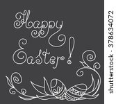 hand drawn decorated eggs on... | Shutterstock .eps vector #378634072