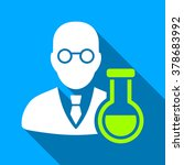 chemist with retort long shadow ... | Shutterstock .eps vector #378683992
