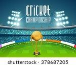 golden winning trophy on night... | Shutterstock .eps vector #378687205