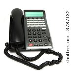 Small photo of Modern multiline office phone, isolated on white. Focus on the answer button