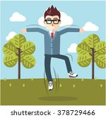 happy jumping man at park | Shutterstock .eps vector #378729466