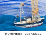 toy boat on the watercolor... | Shutterstock . vector #378733132