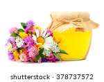 may honey in jar with... | Shutterstock . vector #378737572