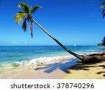 palm tree on caribbean beach    ... | Shutterstock . vector #378740296