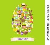 vector flat happy easter... | Shutterstock .eps vector #378742786