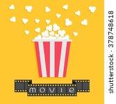 popcorn. film strip ribbon. red ... | Shutterstock . vector #378748618